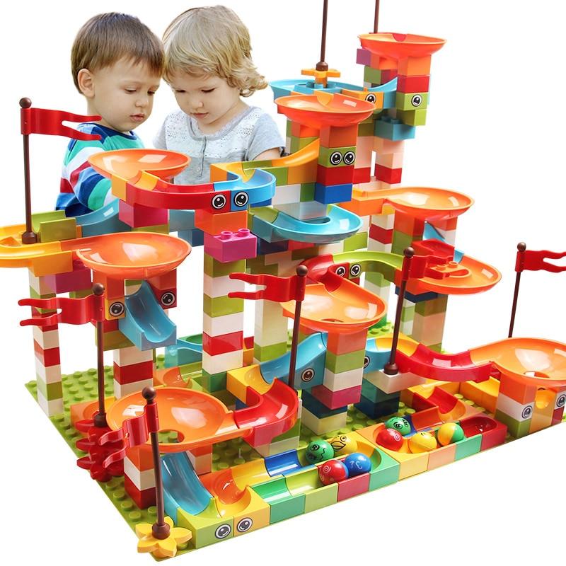 77-308PCS Marble Race Run Big Block Compatible Duploed Building Blocks Funnel Slide Blocks DIY Bricks Toys For Children