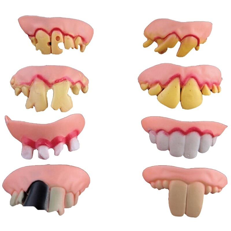 جديد 8 قطعة مضحك جوفي وهمية مصاص دماء أسنان أسنان هالوين ديكور الدعامة خدعة لعبة حفلة خلع الملابس