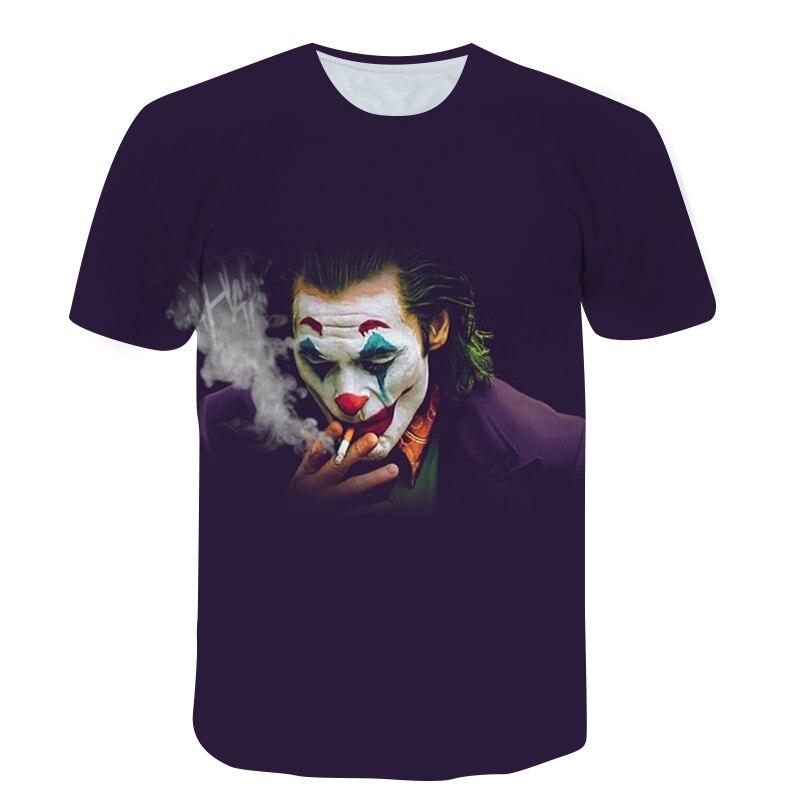 Clown T-shirt Street Hip Hop Men's Short Sleeve Shirt 3D Printing Teen Oversized O-Neck Top