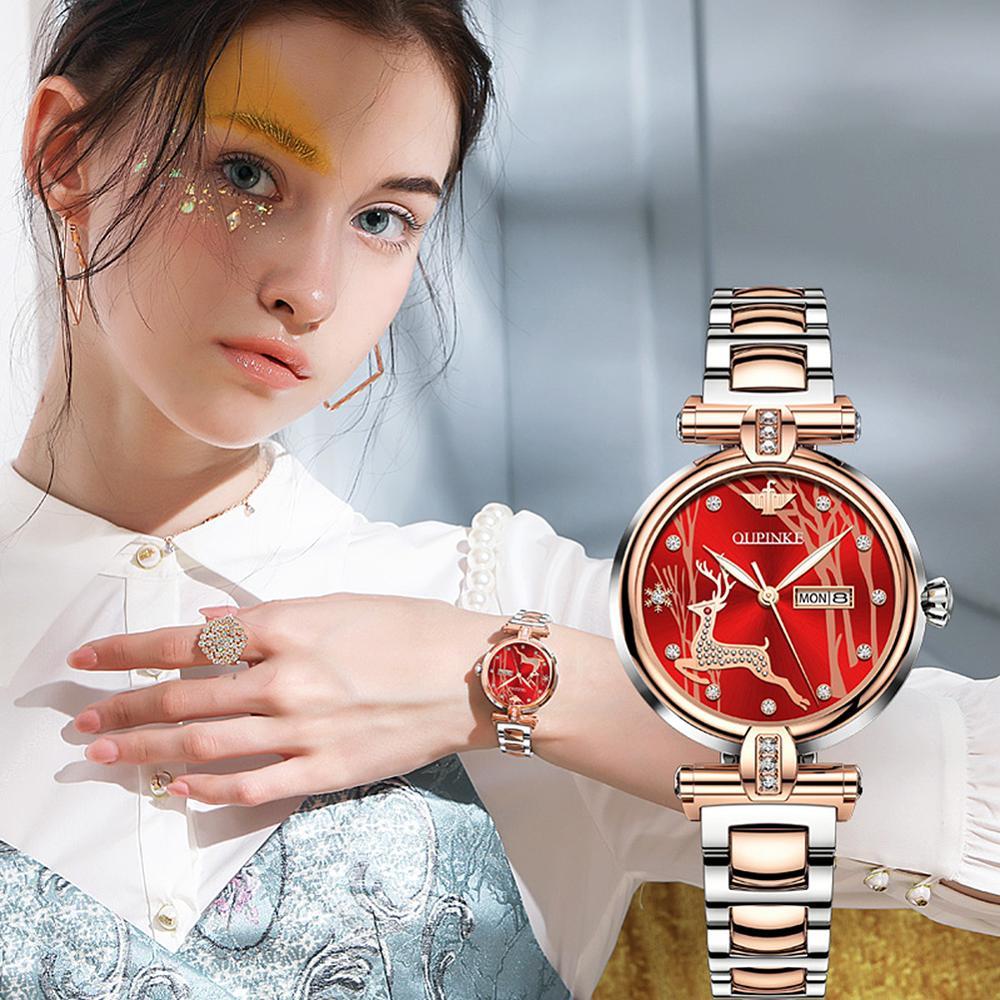 Automatic Watch For Women Top Luxury Brand Mechanical Watch Set Gift Waterproof Stainless Steel Elk Design EU CE Certification enlarge