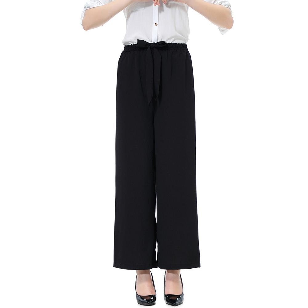 Casual Women Solid Color/Striped Drawstring Wide Leg Trousers Loose Long Pants Women's Clothing