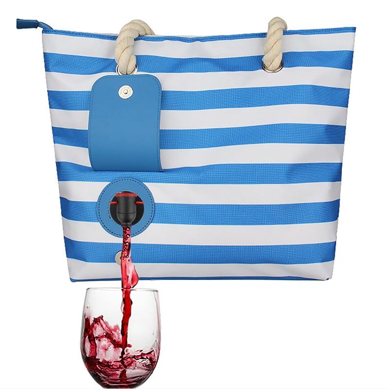 جديد حقيبة قماش قنب النبيذ مع خفية معزول المقصورة المألوف حقيبة حمل على الشاطئ حقيبة يد للحزب الشواطئ في الهواء الطلق
