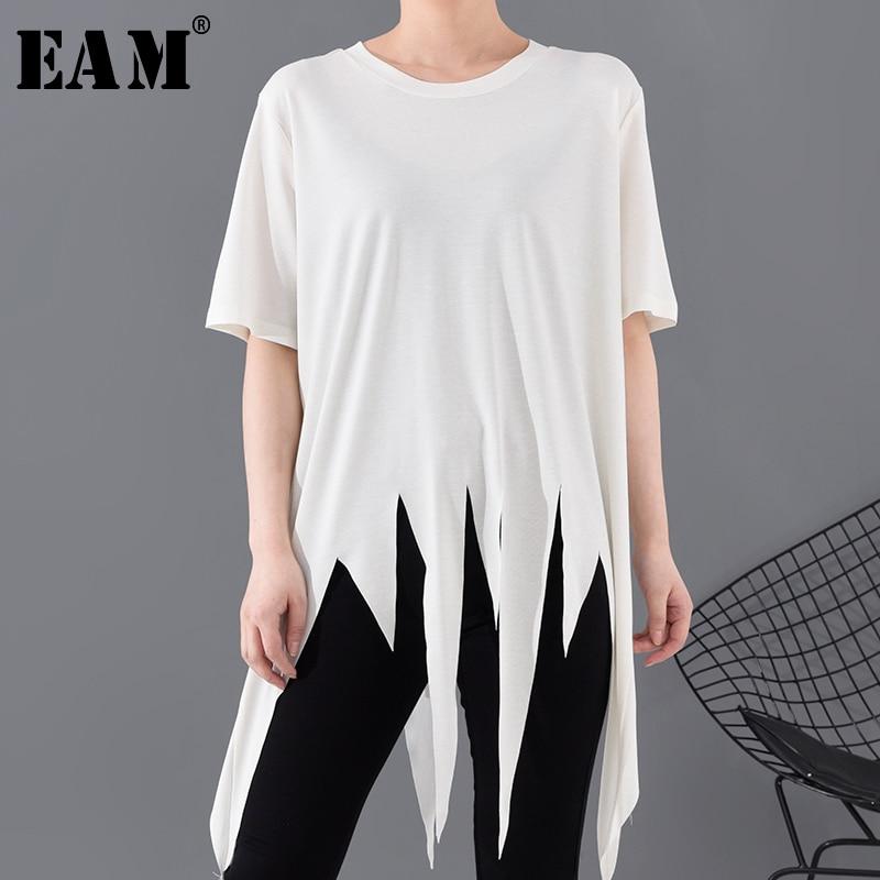 [EAM] Women White Asymmetrical Hem Big Size Long T-shirt New Round Neck Half Sleeve  Fashion Tide  Spring Summer 2020 1S06000