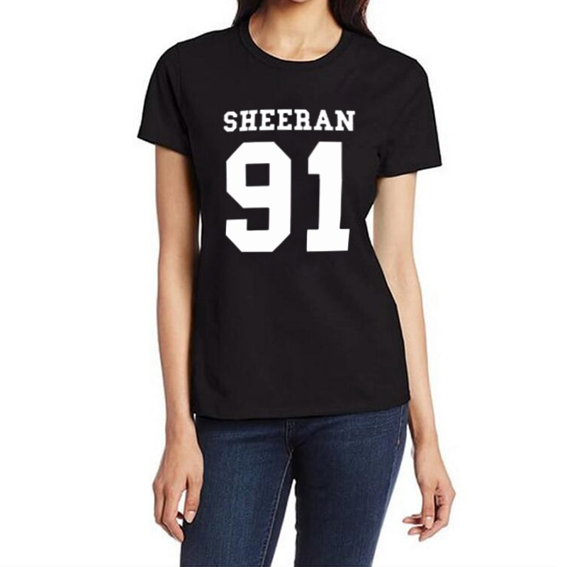 Black White Camisetas Mujer Sheeran 91 ED Sheeran Music Tour Funny T Shirt Women Tops Punk Hip Hop T-shirt