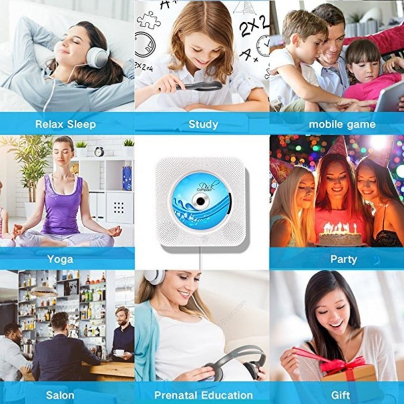 Portable Bluetooth CD Player Wall Mountable Home Audio Boombox With Remote Control HiFi Speakers Full Band FM Radio USB MP3 enlarge