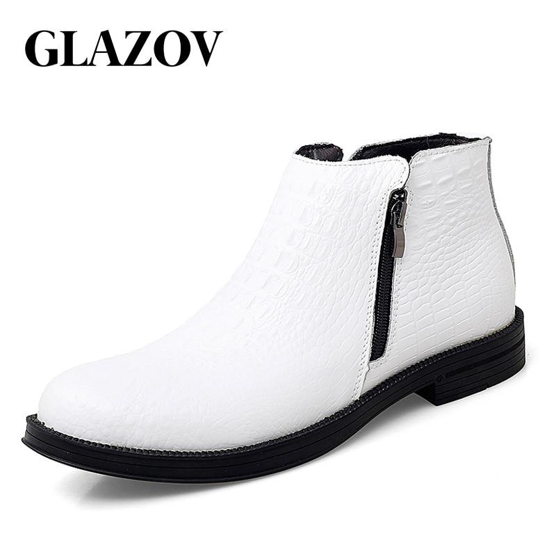 جلازوف الشتاء الأزرق عالية الجودة جلد تشيلسي أحذية الرجال أحذية كاجوال للذكور بوتاس Zapatos دي Hombre Chaussure أوم
