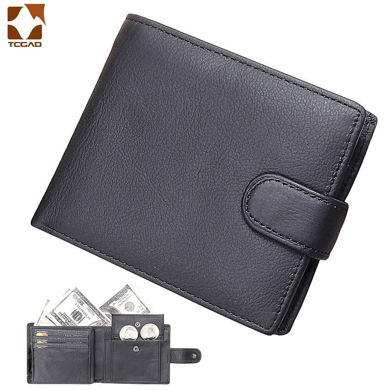 Billetera de cuero genuino para hombre, billetera masculina con broche corto, monedero...