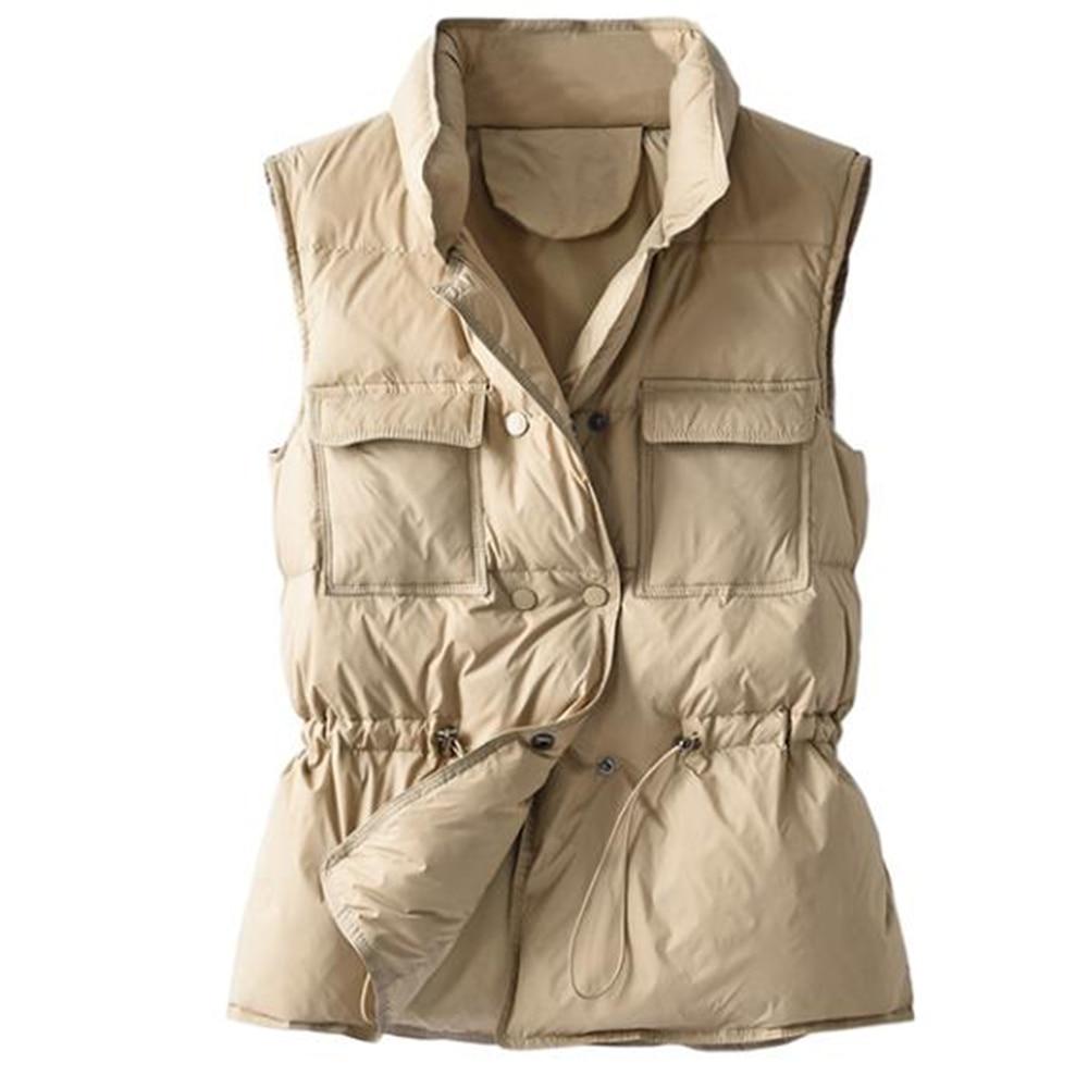 Зимние Пуховые жилеты, женский короткий жилет без рукавов, куртка, легкий жилет, Женская безрукавка, ветровка, пуховые пальто