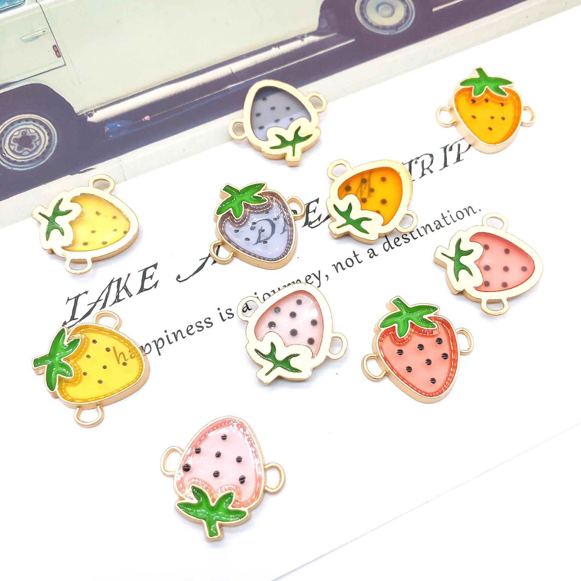 Summer strawberry transparent fruit series DIY hand accessories rubber band double hanging rope accessories