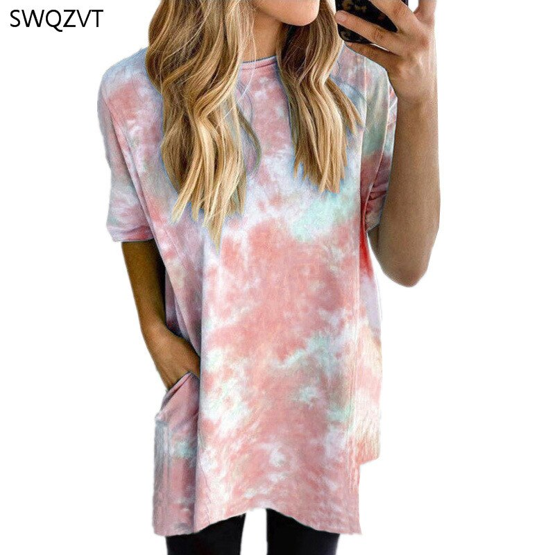 SWQZVT 2020, camiseta estampada con Tie Dye para mujer, Top Casual suelto colorido de verano para mujeres, camiseta de moda para mujeres