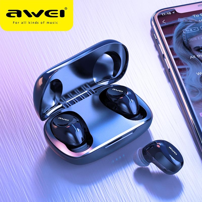 AWEI, недорогие TWS мини наушники-вкладыши, игровые Bluetooth 5,0, качественный звук, Hifi наушники с микрофоном, сенсорная беспроводная гарнитура