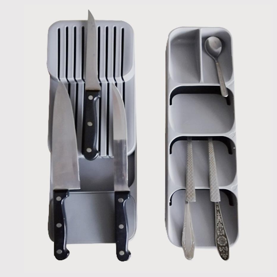 Soporte de plástico para cuchillos, cajón, tenedores, cucharas, estante de almacenamiento, soporte para cuchillos, gabinete, bandeja de cocina, organizador de cubiertos, 2020