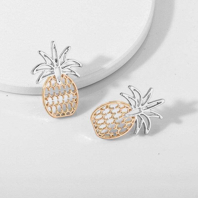 Joyería de mujer, pendientes de piña elegantes de dos tonos, diseño único, Mini pendientes de Boutique, regalo, joyería de fiesta