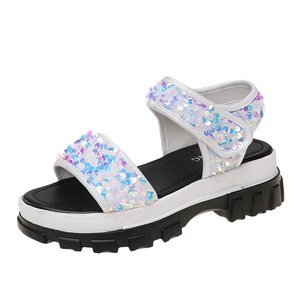 2021 Summer Fashion Casual Sequined Velcro Beach Sandals Soft Sole Hook and Loop Sandals