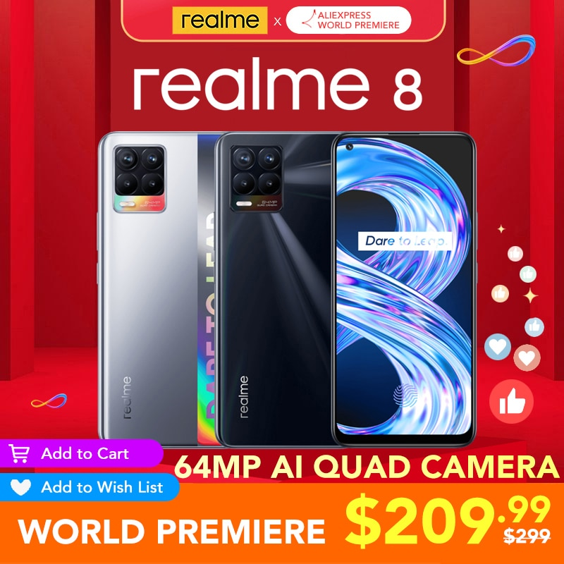 realme 8 6GB RAM 128GB ROM Global Version 30W Charge Helio G95 6.4