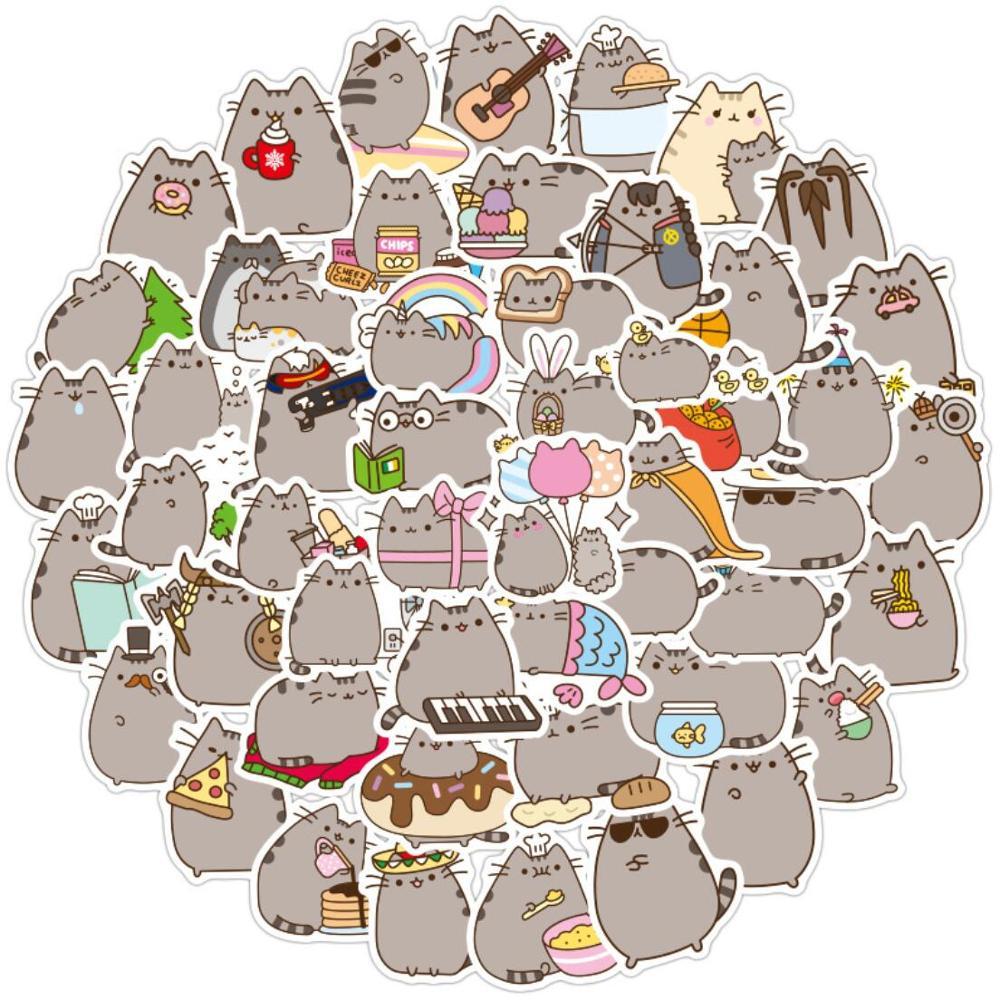 100 unids/pack Kawaii gato grueso diario impermeable bala diario papelería decorativa arte pegatinas álbum diario DIY álbum diario