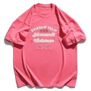 LACIBLE 2021 Hip Hop T-Shirt Streetwear Letter Print Dog Heart Flower Embroidery T Shirt Men Harajuku Cotton Short Sleeve White