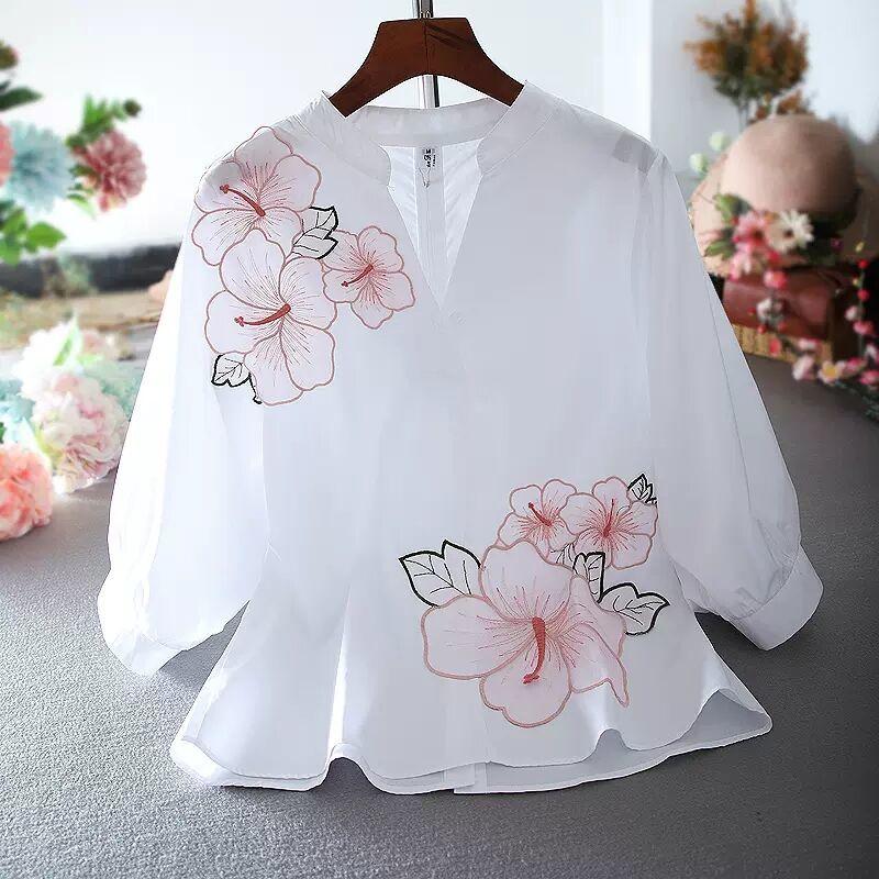 Туника белая рубашка женская шифоновая блузка с цветочной вышивкой v-образный вырез офисные женские Топы повседневные высококачественные летние пышные рукава | Женская одежда | АлиЭкспресс