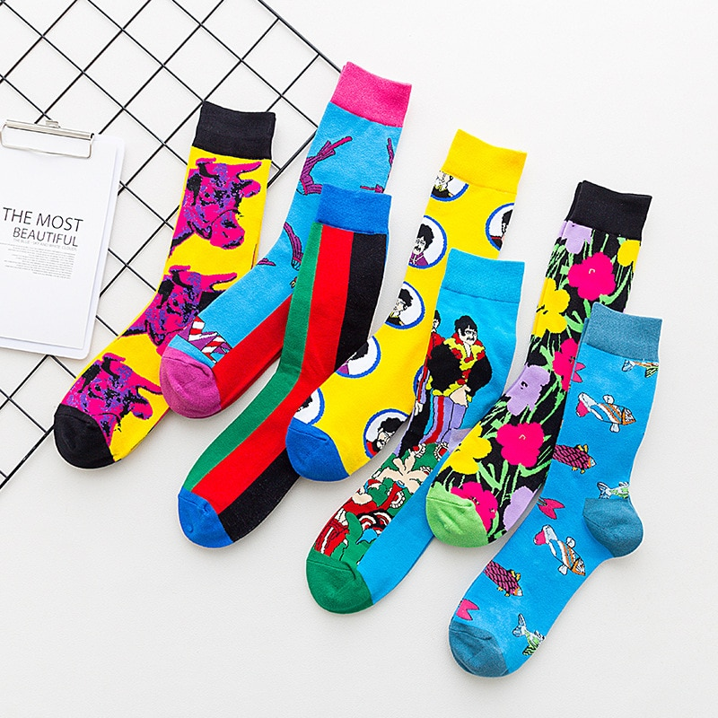 1 пара цветных спортивных модных хлопковых мужских носков, забавные цветные подходящие морепродукты, животные, скейтборд в стиле Харадзюку