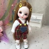 16cm wig bjd doll movable joints cute face diy bjd dolls with big eyes bjd toys gifts for girl handmand toy
