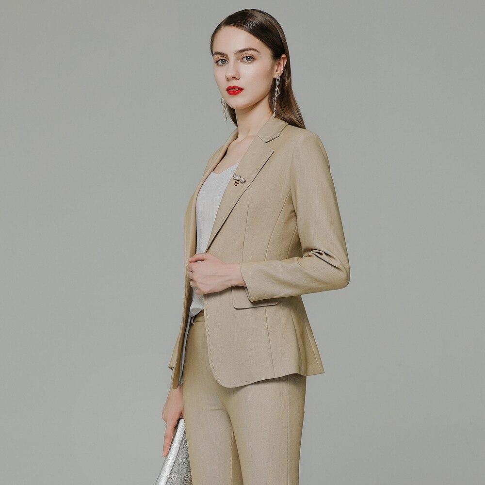 Для женщин жакет абрикосового цвета и брючный костюм для детей деловой костюм офисный костюм 2-Костюм из нескольких предметов пальто и комп...