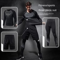 fitness clothing mens sports suit spring and autumn running summer three piece tights to play