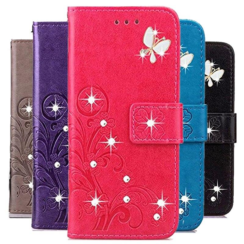 Funda protectora tipo libro para tp-link Neffos Y5 Y6 Y5i Y5S TP804A Y5L Y50 diamante brillante rosa en relieve PU Funda de cuero