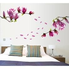Pegatinas de pared creativas de PVC Flor de Magnolia hogar adhesivo para pared de dormitorio de uso doméstico decoración Mural calcomanía extraíble arte Mural bricolaje