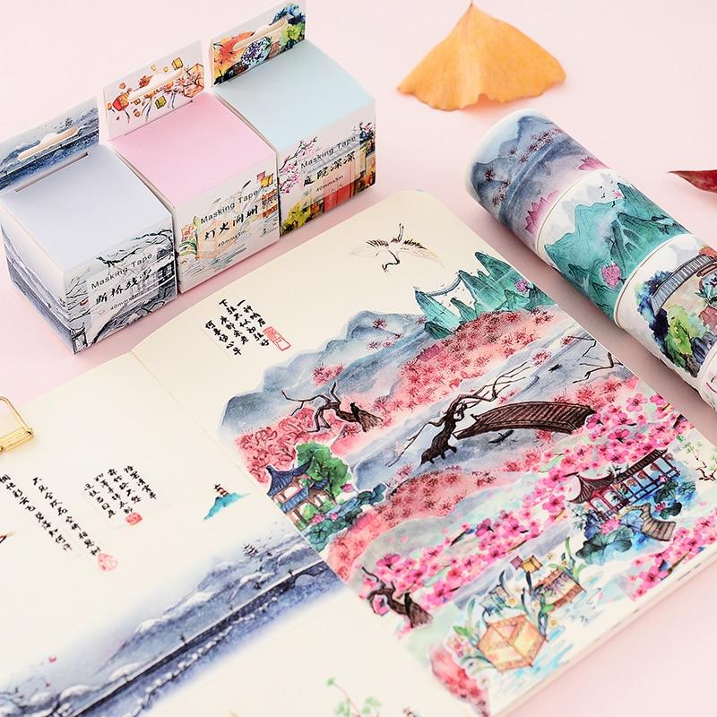1 шт. пейзаж растения и цветы Винтаж декорации лента для декорации Washi DIY планировщик дневник в стиле Скрапбукинг изоляционная лента