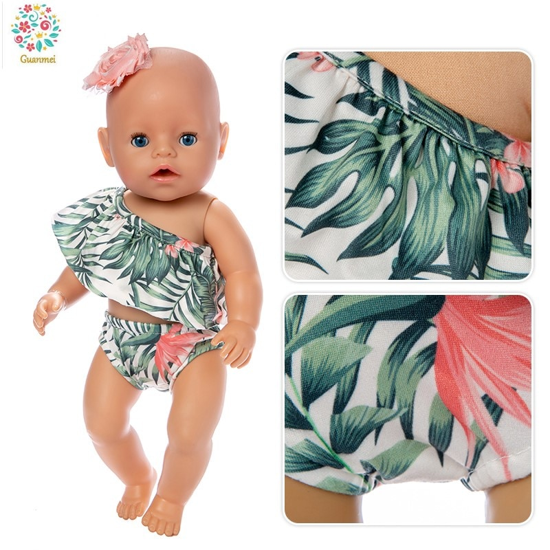 Born New Baby Doll Clothes Fit 18 inch 43cm Doll Red Lips of Flaming Tetrafolium Swimsuit Accessorie