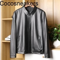 jacket man textured leather jacket leather mens leather jacket sheep showing the charm of business gentlemen