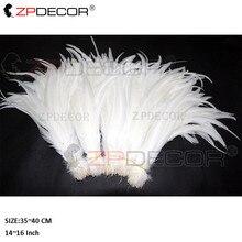 Großhandel 35-40CM/14-16Inch Reine White Rooster Coque Schwanz Federn Für Kostüm Dekoration Handwerk christma Diy Feder