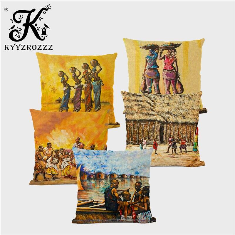 Funda de cojín con pintura al óleo de vida Tribal africana a la moda, funda de lino para sofá, decoración artística familiar negra feliz, 45x45cm