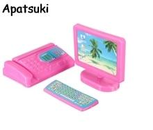 1 Juego de miniteclado de Monitor rosa para Fax de ordenador para casa de muñecas Barbie miniatura Juguetes Accesorios para niñas regalo