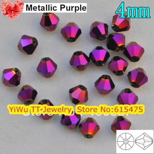 Freies Verschiffen, 720 teile/los 4mm metallic lila farbe Chinesische Top Qualität Kristall Doppelkegel Perlen