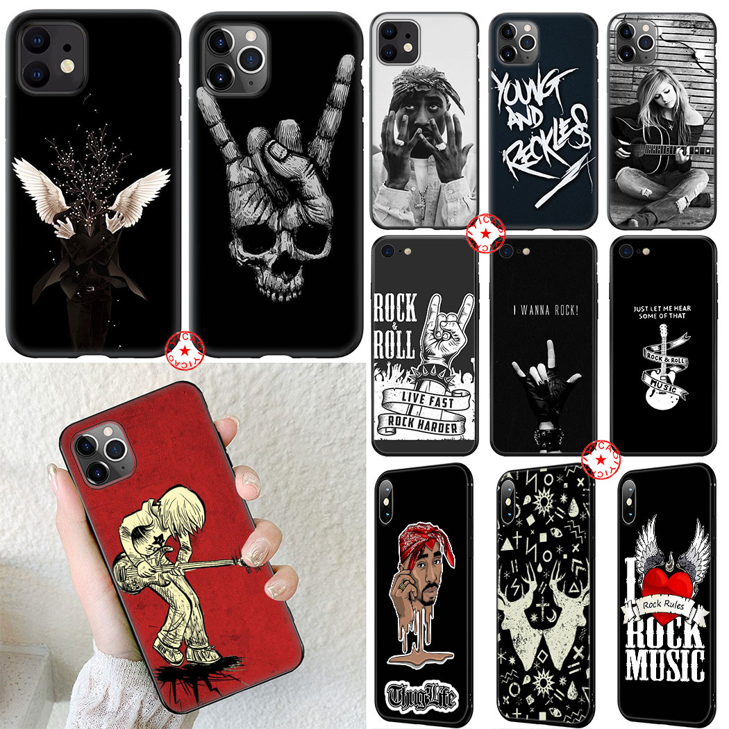 Rock Punk Hip hop Soft Silicone Case for iPhone 11 Pro XR X XS Max 6 6S 7 8 Plus 5 5S SE Cover