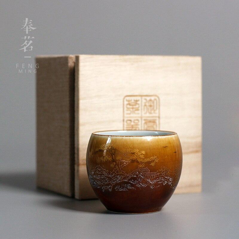 الطلاء لوتس الزهور الرجعية السيراميك فنجان كوب الشاي اليدوي المنزلية الصينية أعلى جودة مصمم بارد القهوة كوب هدية ل صديق
