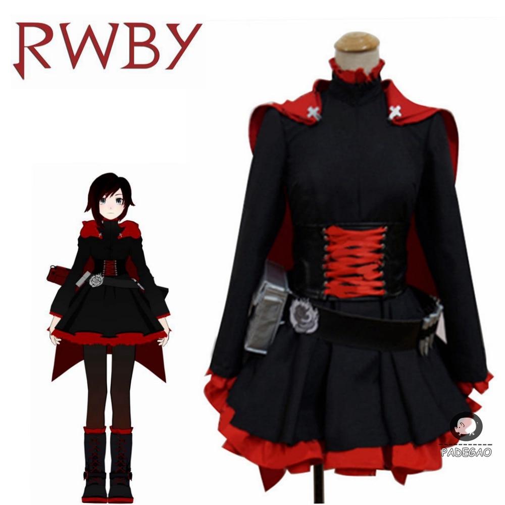 Ruby Rose Rwby Cosplay 3 Seizoen Rode Jurk Mantel Battle Uniform Kostuum Anime Rwby Ruby Rose Cosplay Kostuum Vrouwen