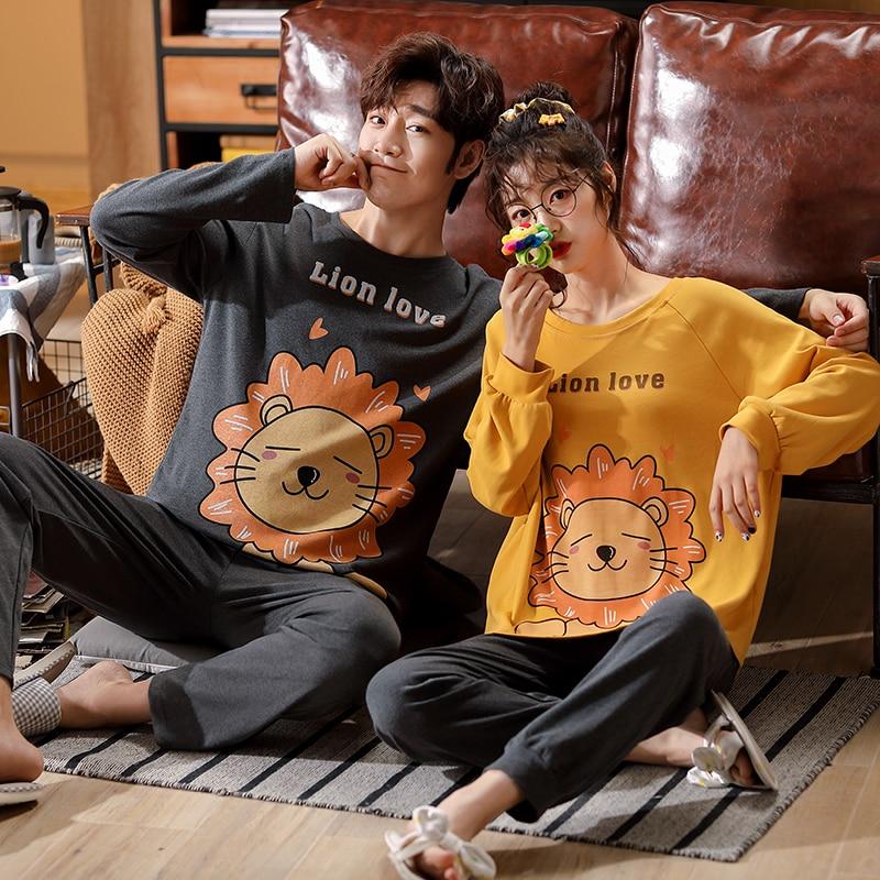 Пара пижамы новинка мода мужские женские домашняя одежда хлопок пижамы весна осень длинный рукав мультфильм печать пара% 27 ночное белье