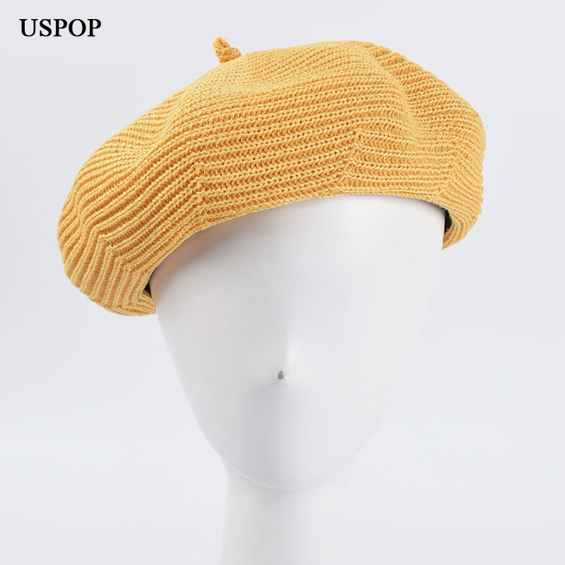 USPOP 2020 New women berets female solid color spring beret hat candy color breathable knitted beret uspop 2020 women berets plaid tweed beret hat female autumn winter wool hat