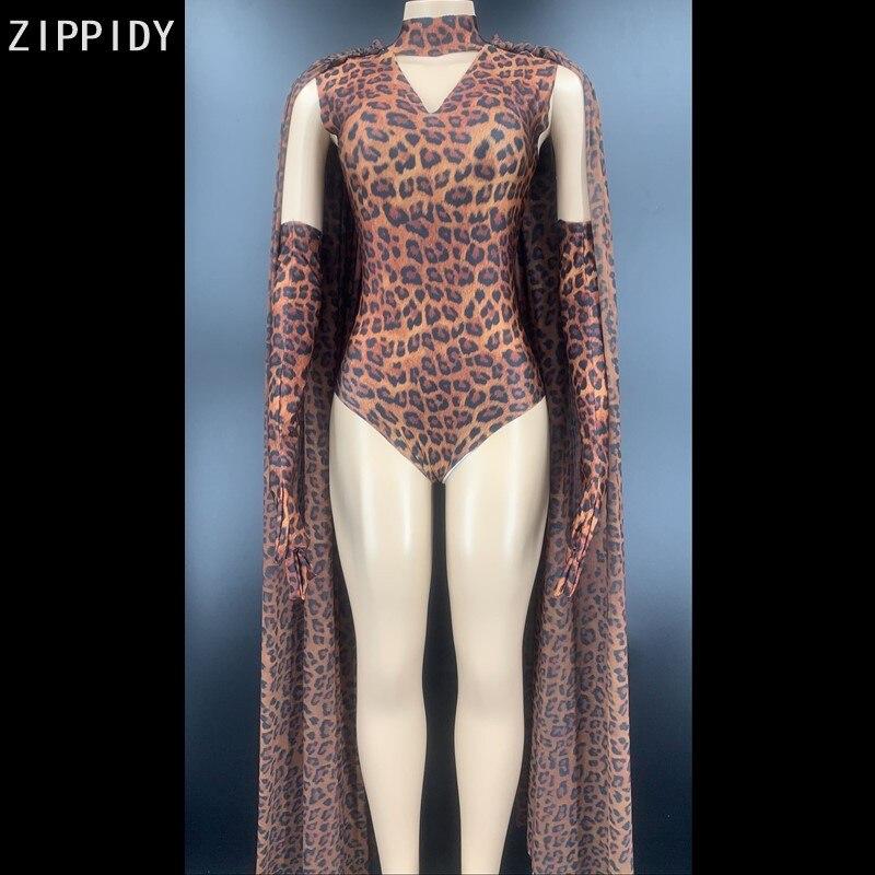 يودو-بدلة للجسم بطبعة جلد الفهد ، قفازات ، شال ، سبانديكس ، مخرم ، زي مغني ، رقص ، للنساء