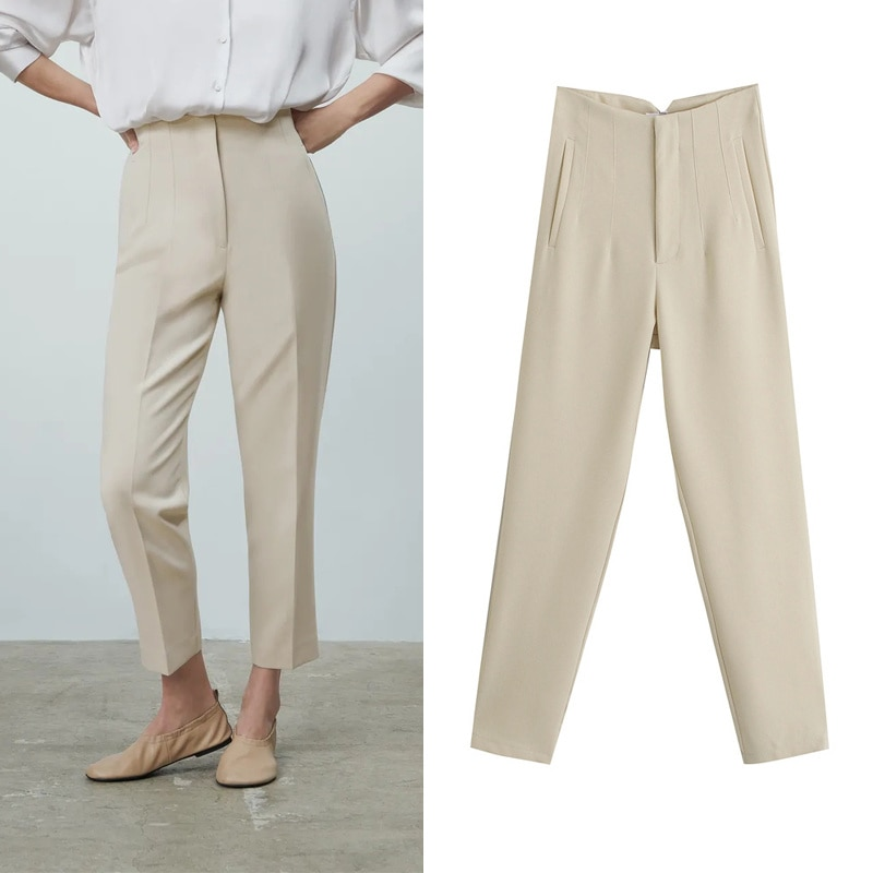 42021 Spring Trouser Suits High Waisted Pants Women Fashion Office Beige Chic Button Zip Elegant Pink Casual Woman