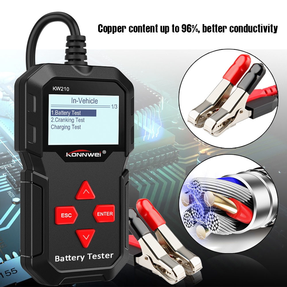 KONNWEI KW210 Automotive Smart 12V Car Battery Tester Auto Battery Analyzer Inspection Tool 100 to 2000CCA Cranking Testing