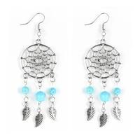 women boho natural stone hollow dreamcatcher turquoises earrings dangled earrings amethysts onyx fluorite tassel hanging jewelry