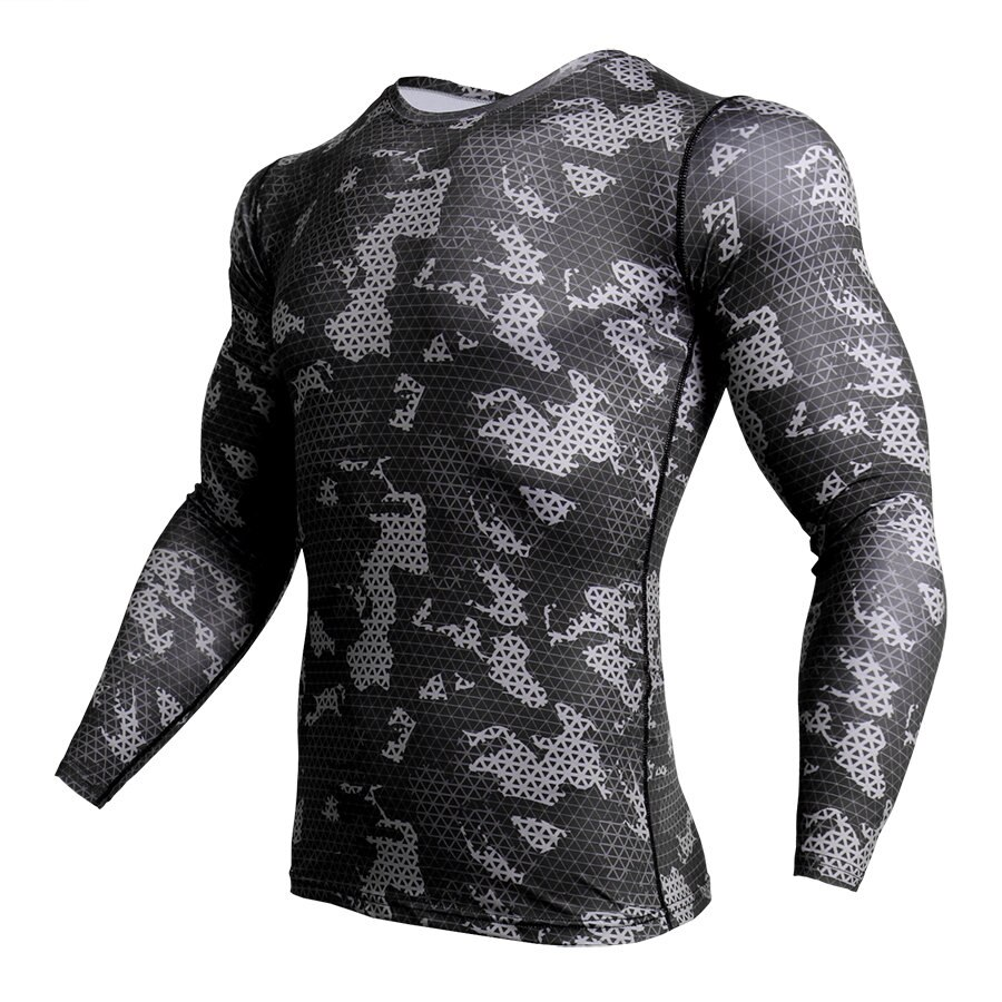 Ropa seca para hombre, camiseta MMA, Camiseta larga de camuflaje 3D para gimnasio, camiseta de manga rápida para Fitness, camiseta de compresión para hombre, camiseta de camuflaje