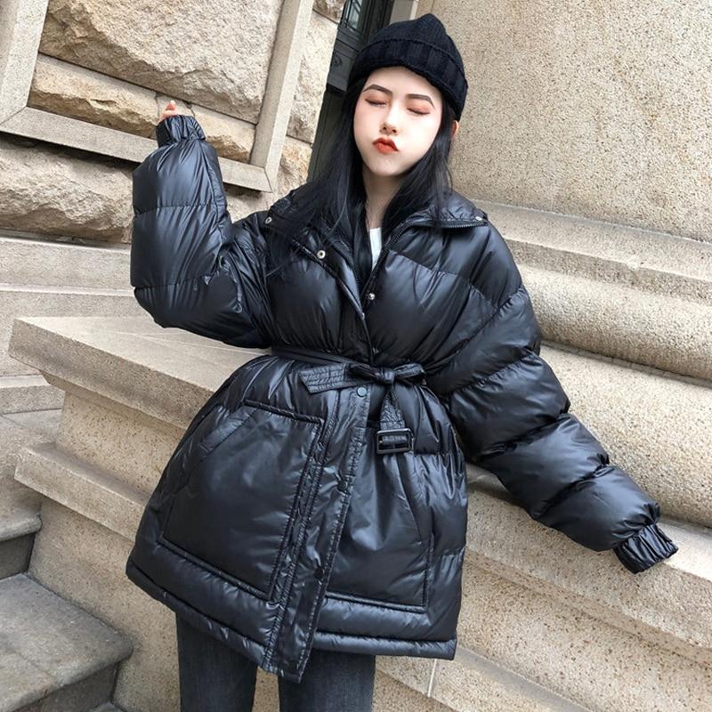 أنوراك نسائي شتوي أسود مع خصر قابل للتعديل, معطف نسائي ، للشتاء ، دافئ ، واسع ، حزام ، أحمر ، سميك ، دافئ ، MY173