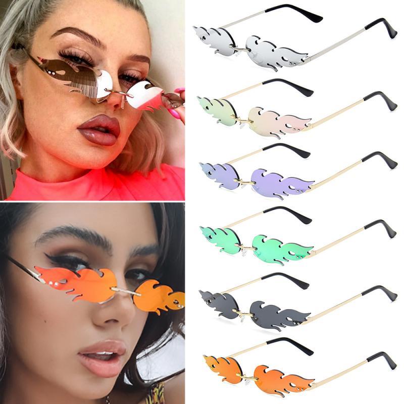 2020 NEW Fashion Cycling Fire Flame Sunglasses Women Men Rimless Sunglasses Women Mirror Rectangle V