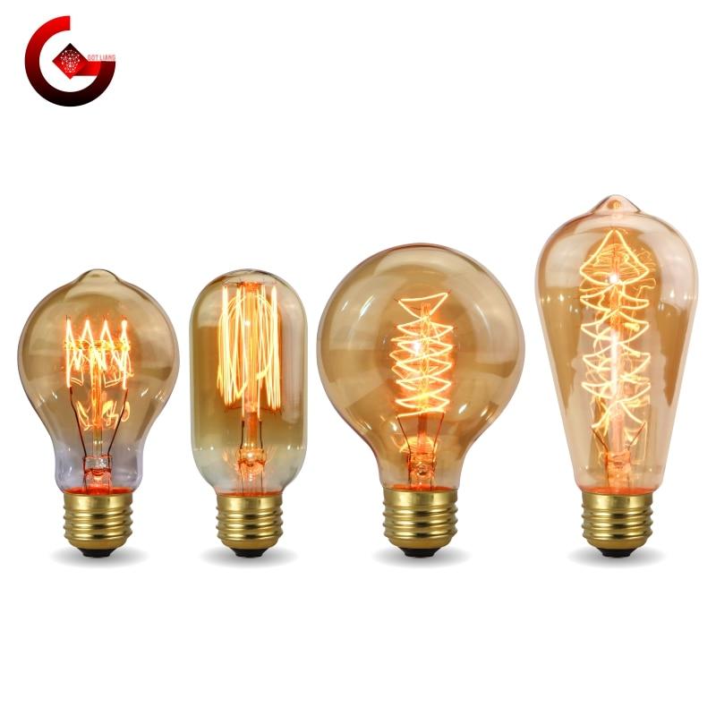 Винтажная лампа Эдисона E27 220V 40W A60 ST58 ST64 T10 T45 T185 G80 G95