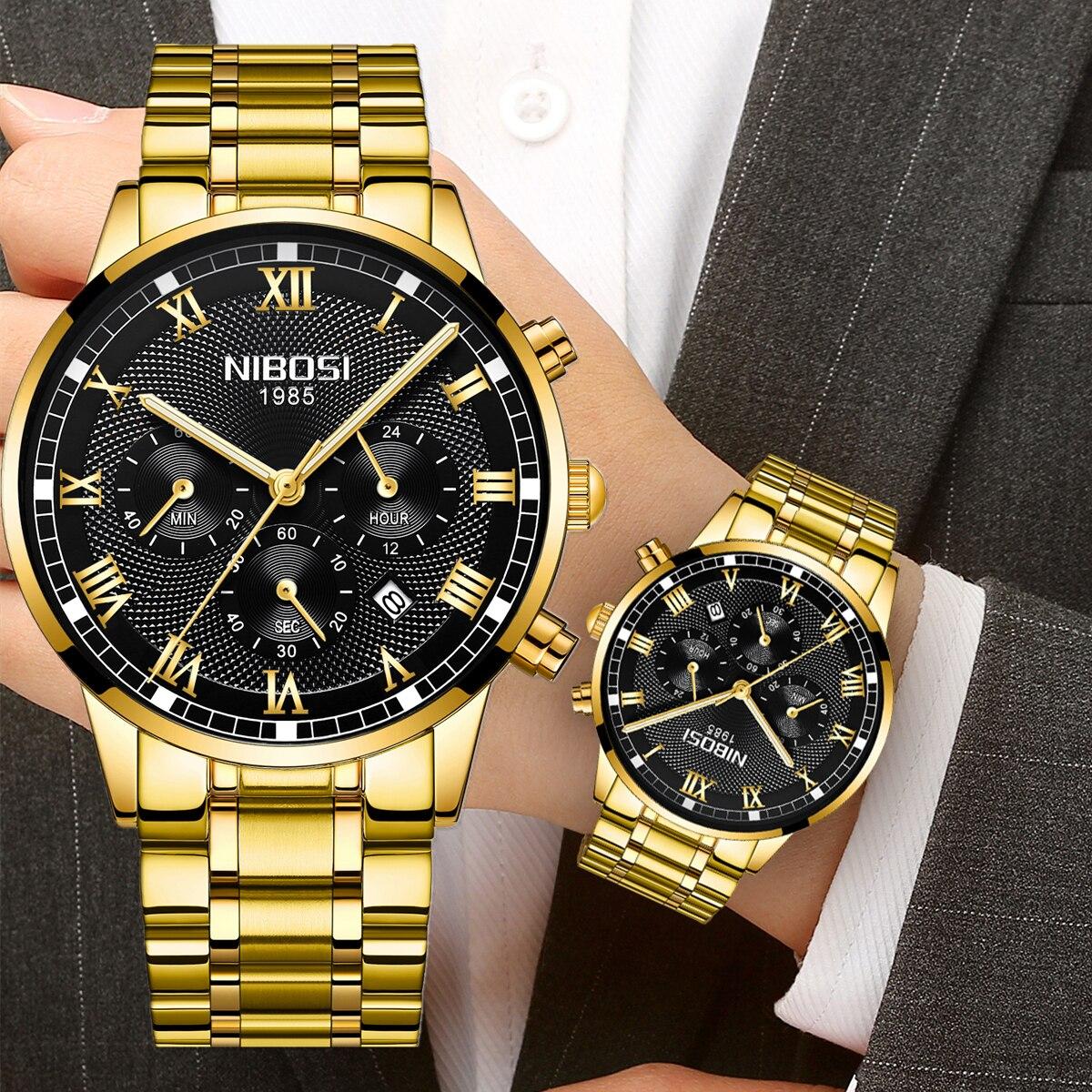 NIBOSI الرجال الساعات موضة فاخرة ساعة كوارتز رجالية العلامة التجارية الفاخرة الأعمال مقاوم للماء ساعة كرونوغراف الرجال Relogio Masculino