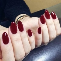 24pcsset gorgeous wine red false nails with glue middle long round head full nail tips finished fake nail artificial nails